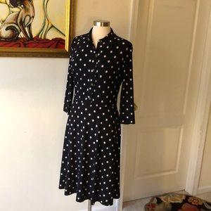 Kasper Long Sleeve Polka Dot Dress